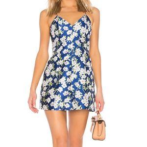 Alice + Olivia Blue Floral Print Lantern Dress